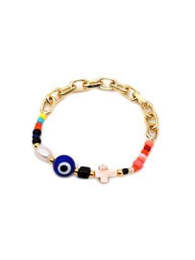 ZZ B200079B Stainless steel  Glass  Bead Oval Bohemia Stretch Bracelet