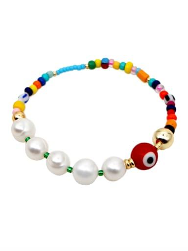 Freshwater Pearl Multi Color Miyuki beads Evil Eye Bohemia Stretch Bracelet