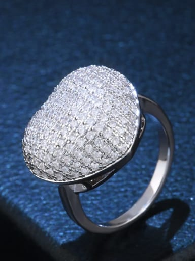 platinum Brass Cubic Zirconia Heart Statement Cocktail Ring