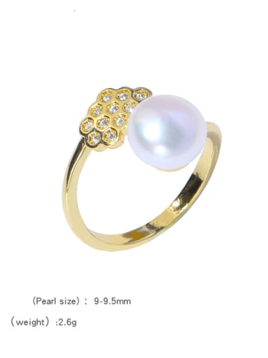 Brass Freshwater Pearl Flower Cute Band Ring