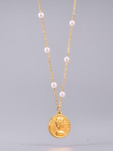 Titanium Steel Freshwater Pearl Round Minimalist Long Strand Necklace