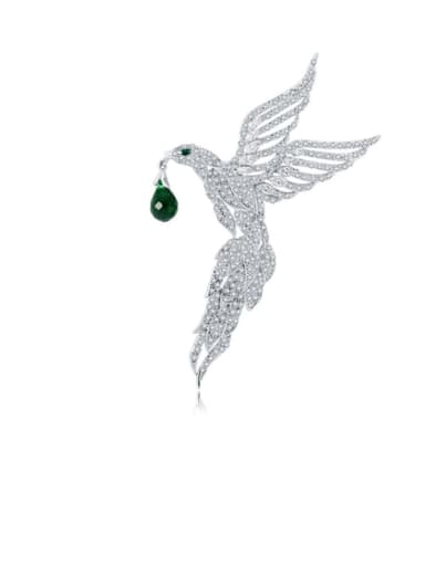 Copper Cubic Zirconia Bird Cute Brooch