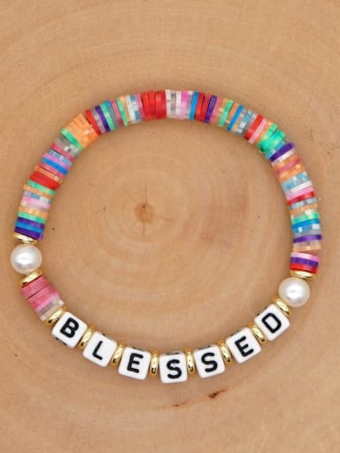 QT B200146E Stainless steel Freshwater Pearl Multi Color Polymer Clay Letter Bohemia Handmade Weave Bracelet