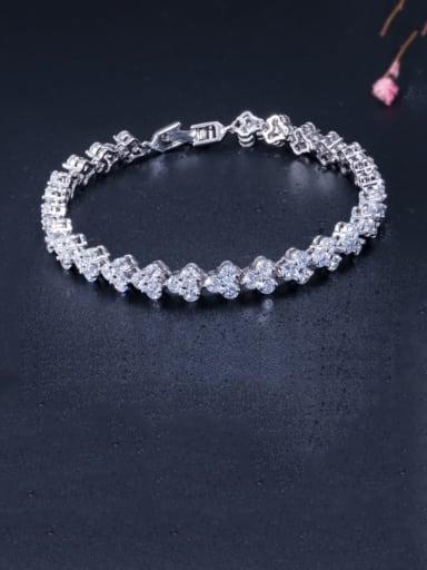 rose gold Copper Cubic Zirconia Heart Dainty Bracelet