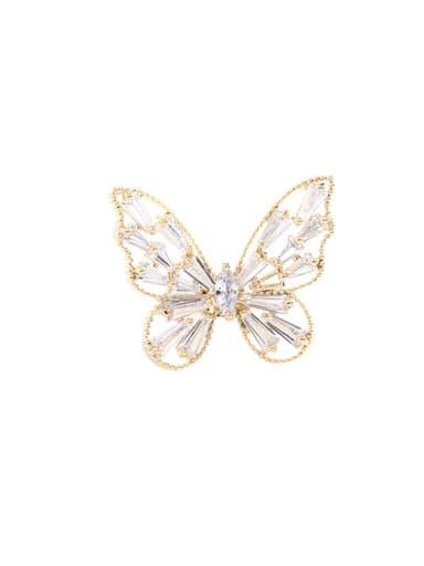 Brass Cubic Zirconia Butterfly Minimalist Brooch