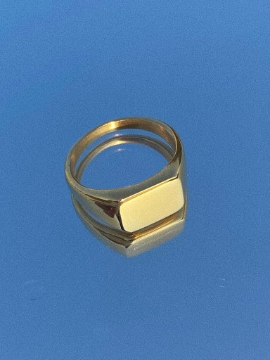 Square barefaced ring: No.68 Titanium Steel Geometric Vintage Band Ring