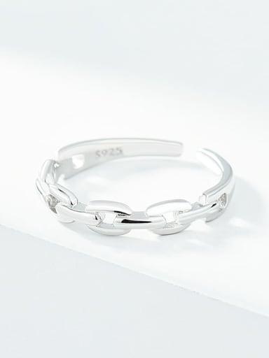 Platinum 925 Sterling Silver Geometric Minimalist Band Ring