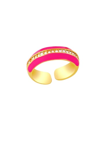 Rose red Brass Enamel Geometric Hip Hop Band Ring