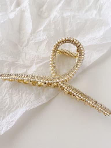 3 Pearl Rhinestone 11cm Alloy Imitation Pearl Minimalist Geometric  Jaw Hair Claw