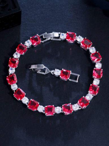 red Brass Cubic Zirconia Geometric Luxury Bracelet