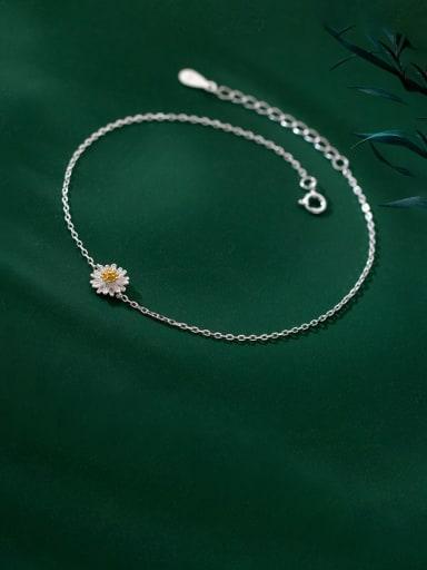 925 Sterling Silver Flower Minimalist Anklet