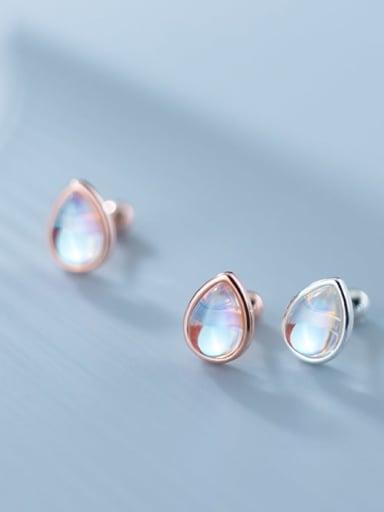 925 Sterling Silver Opal Water Drop Minimalist Stud Earring