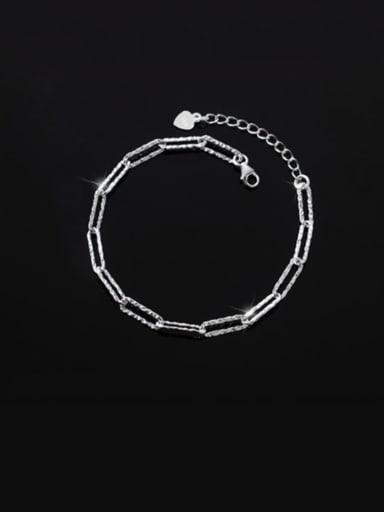 clasp Bracelet Silver 925 Sterling Silver Geometric Minimalist Link Bracelet