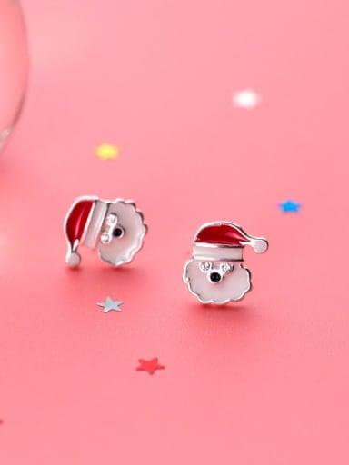 925 Sterling Silver White Enamel  Minimalist Santa Claus Stud Earring