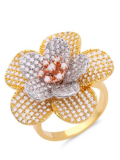 golden Brass Cubic Zirconia Flower Statement Cocktail Ring