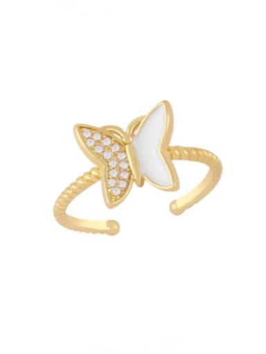 white Brass Enamel Rhinestone Butterfly Minimalist Band Ring