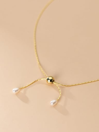 925 Sterling Silver Imitation Pearl Bowknot Minimalist Necklace