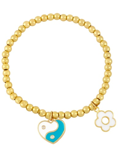 Blue white Brass Enamel Evil Eye Minimalist Beaded Bracelet