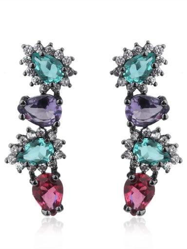 Copper Glass stone Geometric Vintage Ear Cuff Earring