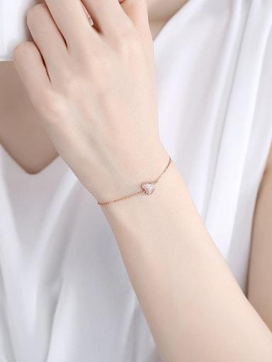 925 Sterling Silver Rhinestone Heart Minimalist Link Bracelet