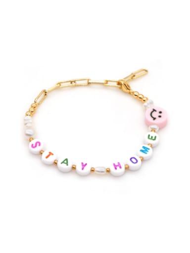 ZZ B200072B Stainless steel Imitation Pearl Multi Color Letter Minimalist Bracelet