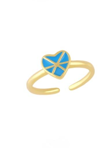 blue Brass Enamel Heart Vintage Band Ring