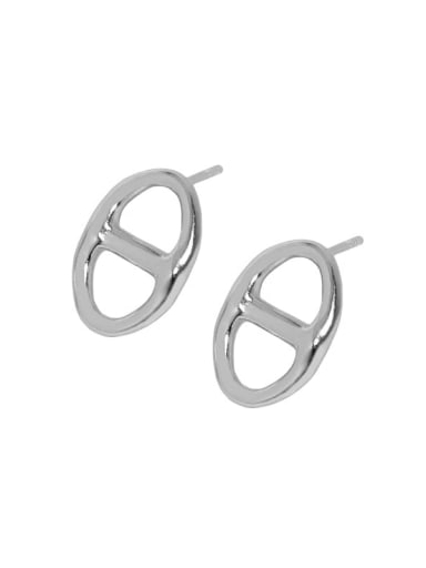 White gold [with pure Tremella plug] 925 Sterling Silver Hollow Geometric Vintage Stud Earring