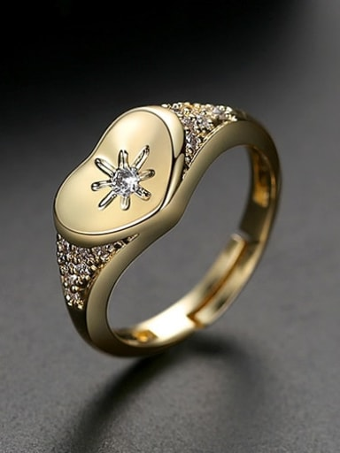 gold Copper Cubic Zirconia Heart Minimalist Free Size Band Ring