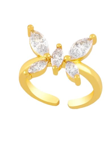 B Brass Cubic Zirconia Butterfly Vintage Band Ring