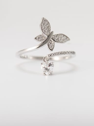 925 Sterling Silver Cubic Zirconia Butterfly Vintage Band Ring