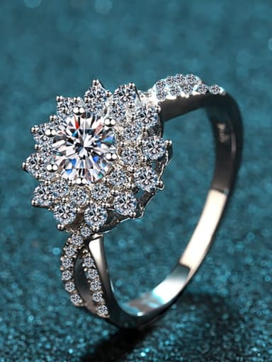 Sterling Silver Moissanite White Flower Engagement Rings