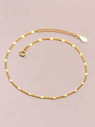 gold 925 Sterling Silver  Irregular Minimalist  Chain Anklet