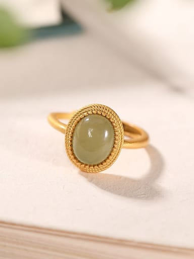 925 Sterling Silver Jade Oval Vintage Band Ring