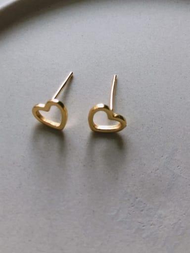 Hollow earrings in c614 925 Sterling Silver Cubic Zirconia Red Geometric Cute Stud Earring