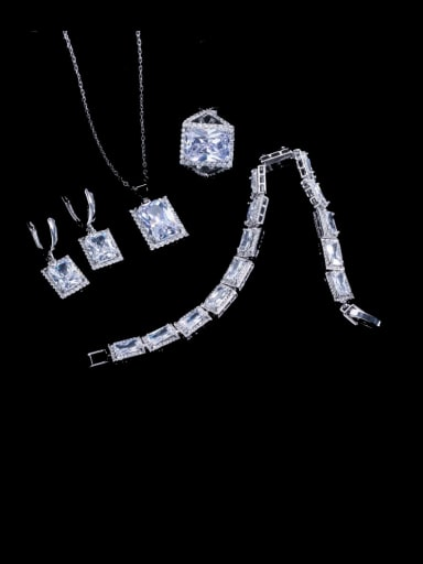 Four piece ring US  6 Brass Cubic Zirconia Luxury Geometric  Ring Earring Braclete And Necklace Set