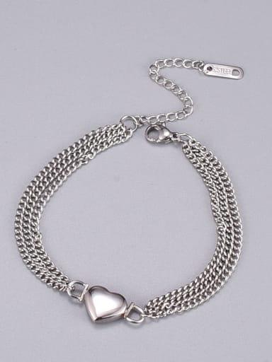 Titanium Steel Heart Minimalist Bead Chain Strand Bracelet