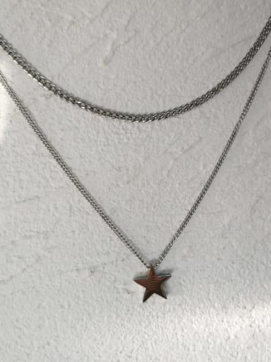 Necklace 45cm 51.5cm Pentagram Titanium Steel Geometric  Minimalist Regligious Necklace