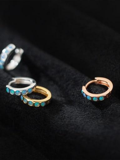 925 Sterling Silver Opal Round Minimalist Huggie Earring