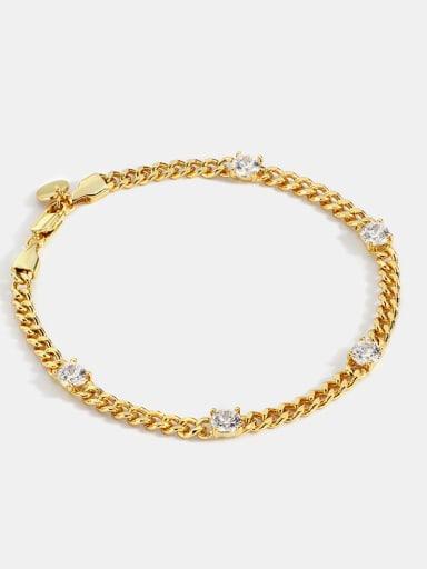Brass Rhinestone Geometric Minimalist Link Bracelet