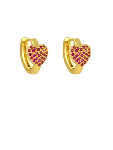 Rose red Brass Cubic Zirconia Heart Bohemia Stud Earring