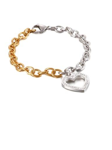 Stainless Steel White Rhinestone Hollow Heart Minimalist  Chain  Bracelet