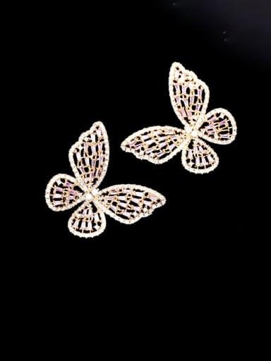 Brass Cubic Zirconia Butterfly Statement Cluster Earring