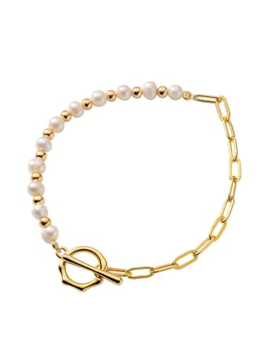 925 Sterling Silver Freshwater Pearl Geometric Minimalist Beaded Bracelet