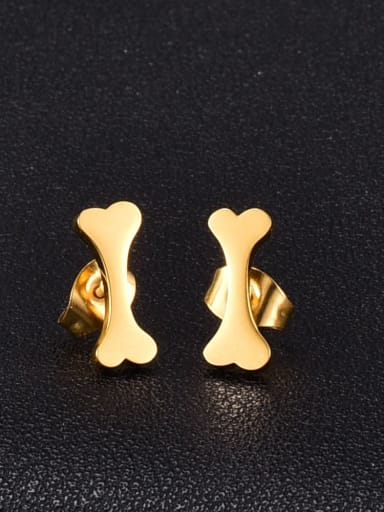 Titanium Steel Dog bone Minimalist Stud Earring