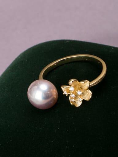 purple Brass Freshwater Pearl Flower Vintage Band Ring