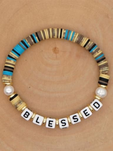 QT B200146H Stainless steel Freshwater Pearl Multi Color Round Bohemia Stretch Bracelet
