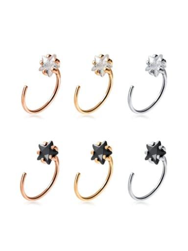 925 Sterling Silver Cubic Zirconia Star Minimalist Hook Earring