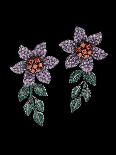 Gun black Brass Cubic Zirconia Flower Statement Cluster Earring