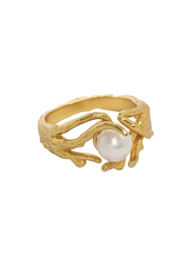 18K gold [13 adjustable] 925 Sterling Silver Imitation Pearl Irregular Vintage Band Ring