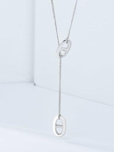 Platinum 925 Sterling Silver Hollow Geometric Minimalist Lariat Necklace